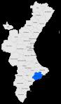 Localització de la Marina Baixa respecte del País Valencià